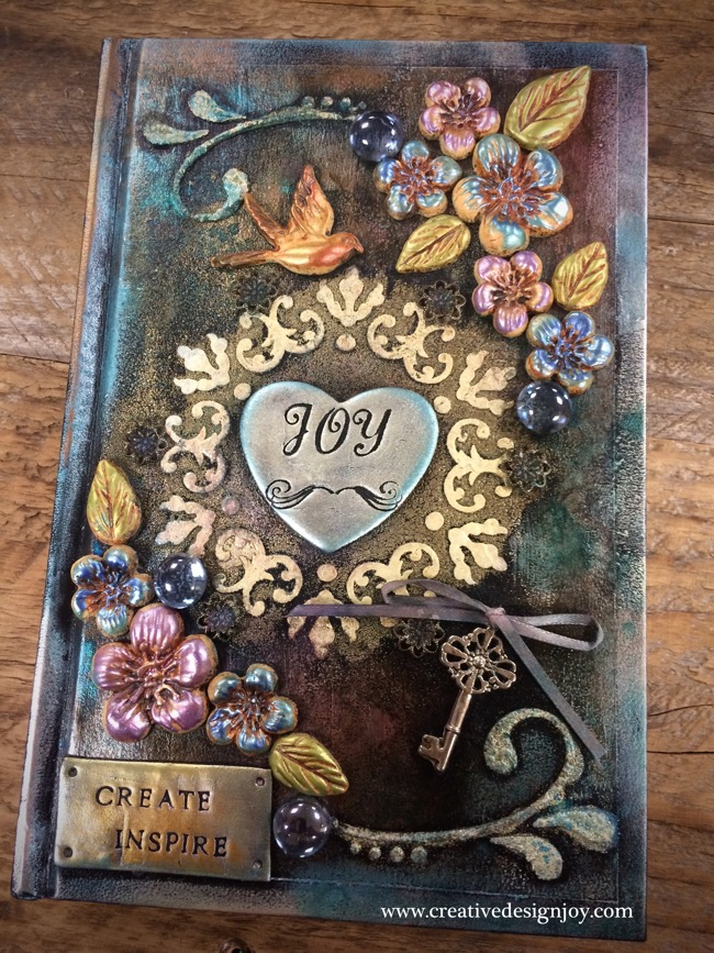 Fantasy Book Cover Tutorial ~ Mixed media journal sketchbook cover tutorial polymer