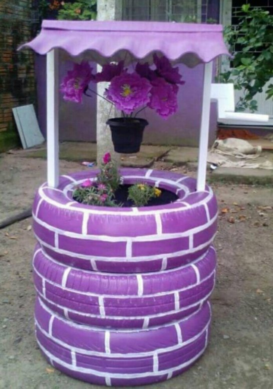 Recycled tire purple well