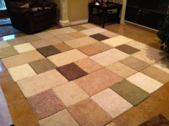 Make rugs from free carpet samples an easy diy project for Can you put an area rug on carpet