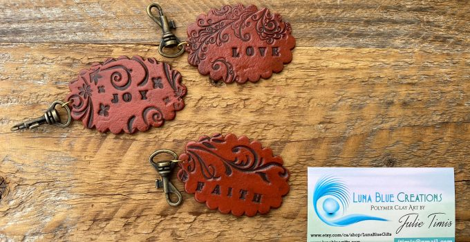 faux leather personalized keychain